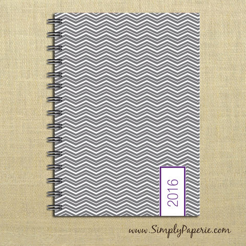 Grey/Purple,Chevron,Weekly,Planner,Weekly Planner, Calendar, month, monthly, academic, year, school, planner, 2016, 2015, grey, chevron, trendy,purple, slate, charcoal, modern, The Artisan Group, 2014