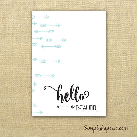 Hello,Beautiful,Notebook,notebook, grid lines, blank pages, sketch book, lined pages, white paper, black, mint green, card stock, create your  happy, saddle stitch, small, pocket size, 5 x 3.5 inches, The Artisan Group