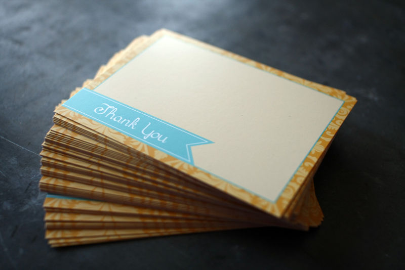 Teal and Gold Thank You Cards - Featured in 2012 Golden Globes Celebrity Gift Lounge - product images  of