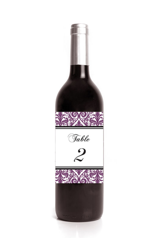 Damask Table Number Wine Label Stickers - product images  of