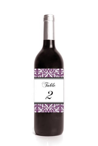 Damask,Table,Number,Wine,Label,Stickers,Weddings, Sticker, Party, celebration, initial, monogram, personalization, pattern, bold, classy, modern, damask, black, purple, grey, choose your color, wine label, elegant, 3.25 x 4