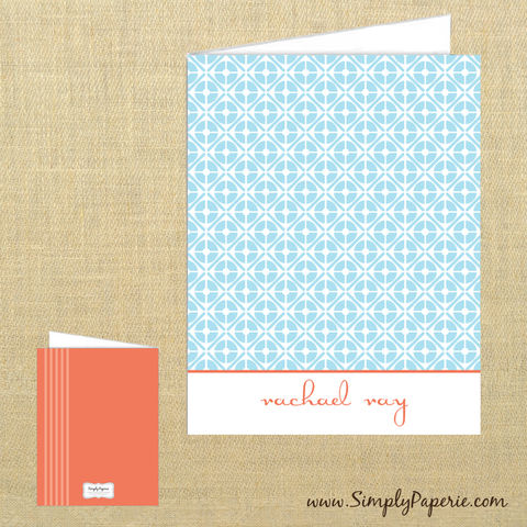 Light,Blue,Retro,Personalized,Notecards,light blue, tangerine tango, retro, circle pattern, Rachael Ray, celebrity gifting, chef, cook, Paper Goods, Cards, tangerine, orange, coral, foldover card, greeting card, stationery, notecard, custom, monogram, personalized, note, name, thank you