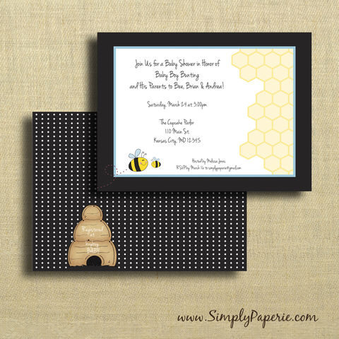 Baby,Bee,Shower,Invitations,Birthday Party Invitation, Invitation, baby, baby shower, shower invitation, bee, bumble bee, baby bee, bee hive, honeycomb, polka dots, black and white, party invitation, little man, boy, flat card, pattern