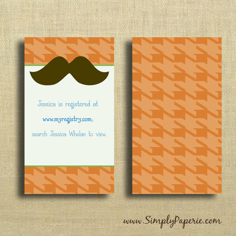 Little,Man,Party,Invitations,Inserts,Birthday Party Invitation, Info card, Weddings, Invitation, baby, baby shower, shower invitation, party invitation, little man, boy, houndstooth, mustache, orange, green, flat card, pattern, classy, modern