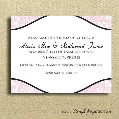 Vintage,Lace,Save,the,Dates,Wedding, Save the Date, Card, vintage, lace, classic, custom, personalized, pink, black, elegant, grey, teal, purple
