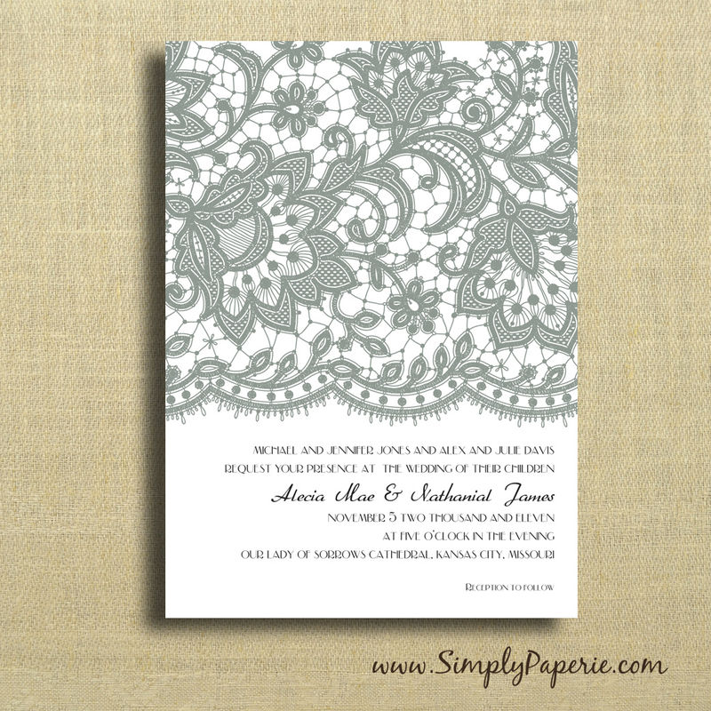 how to put lace on wedding invitations - 28 images - lace border ...
