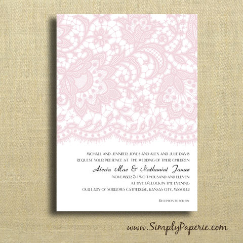 Vintage,Lace,Wedding,Invitations,Wedding Invitation, rsvp, lace, classic, elegant, formal, vintage, light pink, black, custom, personalized, grey, teal, light purple