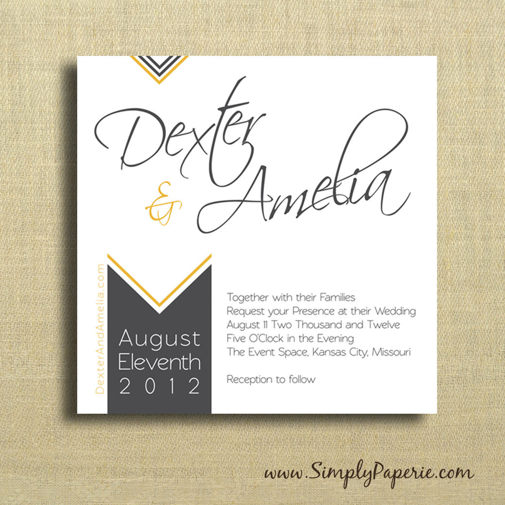 modern wedding invitation cards chevron wedding invitations