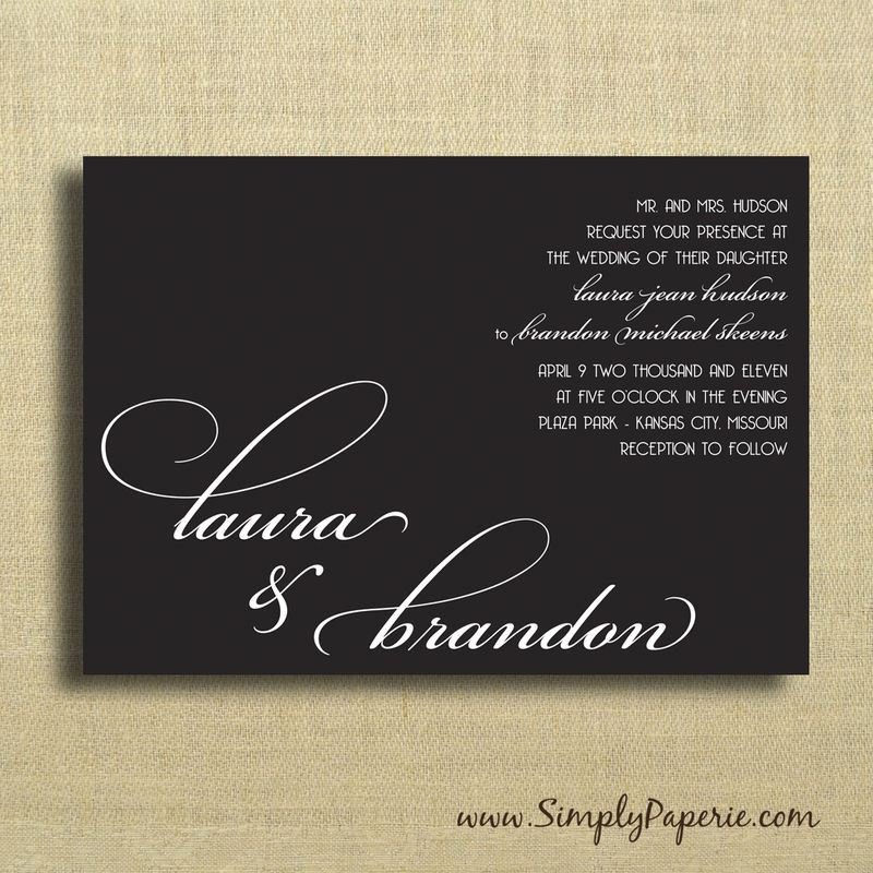 Select your color! Modern Wedding Typography Invitations - product images  of