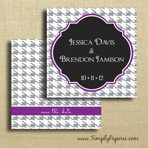 Houndstooth,Save,the,Date,Cards,Weddings, Invitation, Save the Date, wedding invitation, wedding stationery, flat card, square, pattern, bold, classy, modern, houndstooth, black, purple, green, grey, choose your color, color pop