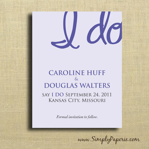 I,Do,Save,the,Date,Cards,Weddings, Invitation, Save the Date, bright, wedding invitation, wedding stationery, fun, playful, purple, I Do, flat card, modern, pretty, cute, casual