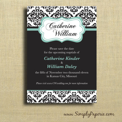 Damask,Save,the,Date,Cards,Weddings, Invitation, Save the Date, wedding invitation, wedding stationery, flat card, modern, damask, elegant, formal, black, teal, black tie, classy, dramatic