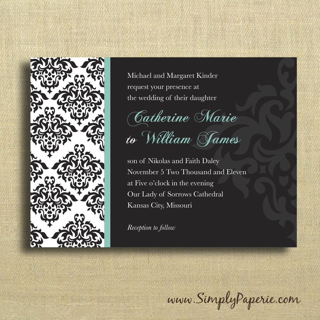 3 damask wedding invitations 2 25 invitation 2 25 invitation and - Damask Wedding Invitations