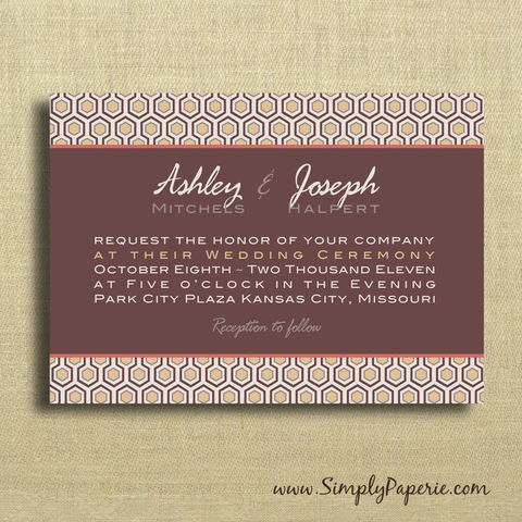 Mod,Wedding,Invitations,Weddings, Invitation, rsvp, script, wedding invitation, wedding stationery, modern, geometric, brown, tan, neutral, orange, fall colors, hix hex, hexagon, honeycomb