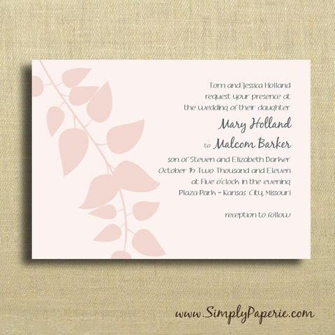 Blush,Pink,Wedding,Invitations,Weddings, Invitation, Card, rsvp, script, pink, grey, leaves, branch, wedding invitation, wedding stationery, blush, soft, femenine, elegant