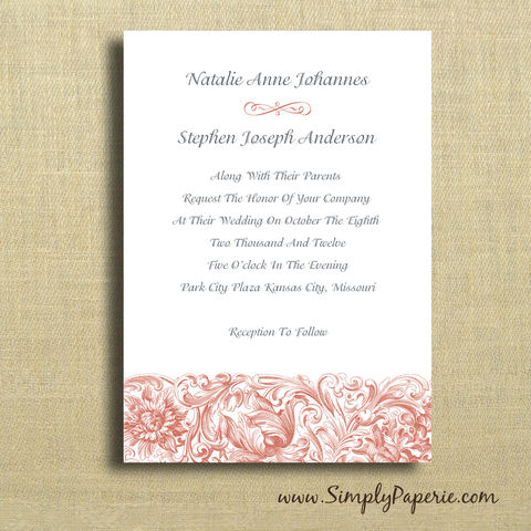 Vintage,Scrolls,Wedding,Invitations,Wedding Invitation, rsvp, scroll, classic, elegant, formal, vintage, victorian, tangerine, custom