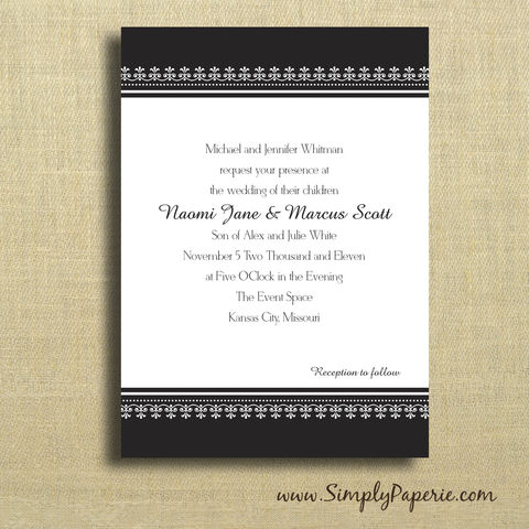 Black,and,White,Classic,Wedding,Invitations,Wedding Invitation, rsvp, damask, classy, classic, band, swirl, elegant, formal, black, white, custom, personalized, announcement