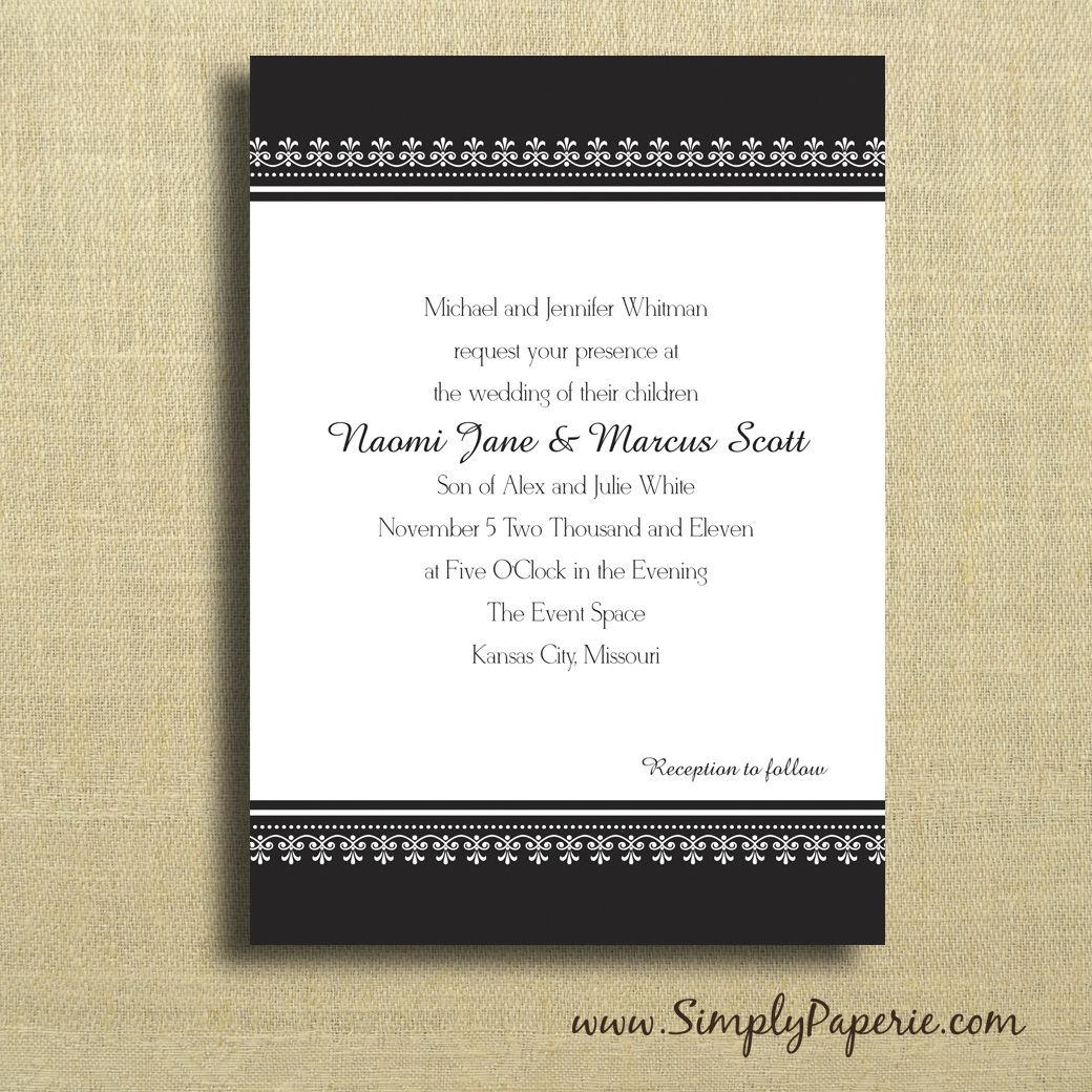 Black And White Classic Wedding Invitations