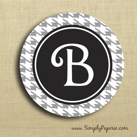 Houndstooth,Personalized,Stickers,Weddings, Sticker, Party, celebration, initial, monogram, personalization, pattern, bold, classy, modern, houndstooth, black, purple, green, grey, choose your color, color pop