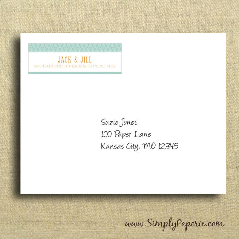 How To Label A Wedding Gift Envelope : Teal and Tangerine Return Address Labels - Simply Paperie