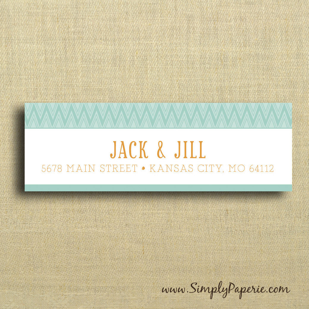 Teal and Tangerine Return Address Labels - Simply Paperie