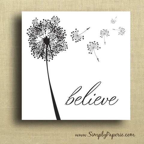 Statement,Dandelion,Stickers,Sticker, square, 2x2, dandelion, flower, floral, black, white, believe, bold, classy, modern