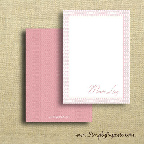 Pink,Diamonds,Personalized,Notecards,pink, girl, femenine, women, female, personalized, notecard, flat card, 5x7, a7, diamond, criss cross