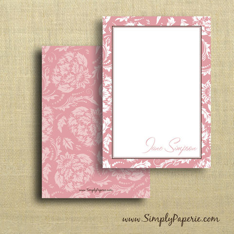 Pink,Floral,Personalized,Notecards,pink, girl, femenine, women, female, personalized, floral, flower, notecard, flat card, 5x7, a7