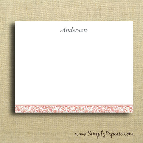 Vintage,Scrolled,Bar,Personalized,Notecards,Paper Goods, Cards, Thank You, elegant, vintage, tangerine, orange, coral, custom, monogram, personalized, note, name, initial, thank you card set, The Artisan Group, notecard, stationery, flat