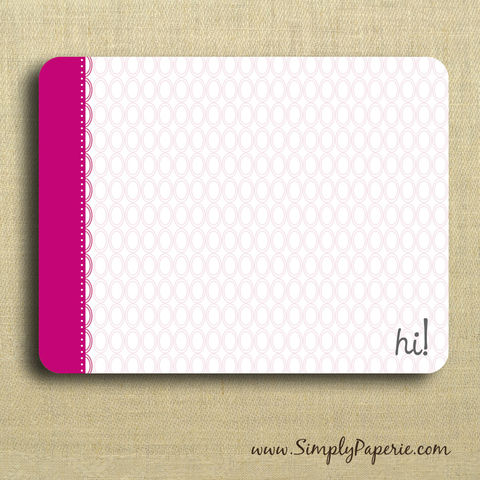 Hi!,Pink,Greeting,Notecards,Paper Goods, Cards, Blank, bright pink, notecard, note, card, geometric, circles, polka dot, hi ,flat, thank you, message, The Artisan Group, ink, envelope