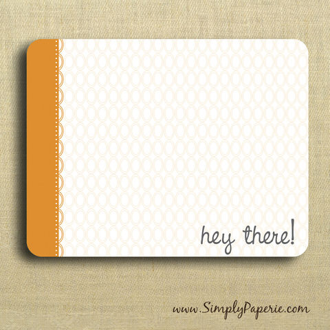 Hey,There!,Orange,Greeting,Notecards,Paper Goods, Cards, Blank, bright, notecard, note, card, geometric, circles, polka dot, flat, orange, tangerine, hey there, thank you, fun, The Artisan Group, ink, envelope