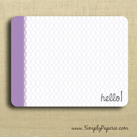 Hello!,Purple,Greeting,Notecards,Paper Goods, Cards, Blank, bright, notecard, note, card, geometric, circles, polka dot, flat, purple, hello, lavender, lilac, The Artisan Group, envelope, ink