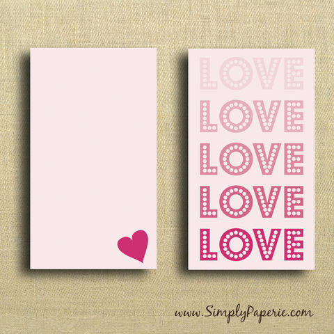 LOVE,Mini,Card,Valentine, pink, love, heart, sweet, femenine, greeting card, Paper Goods, Cards ,Blank, notecard, gift card, blank, The Artisan Group, mini card, small, note card, envelope