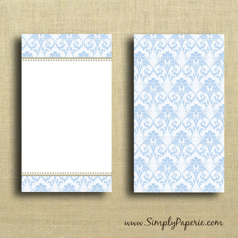 Blue,Damask,Mini,Card,Valentine, light blue, damask, gold, elegant, wedding, wedding card, sweet, femenine, greeting card, Paper Goods, Cards, Blank, notecard, gift card, blank, The Artisan Group, mini card, small, note card, envelope