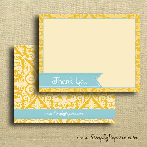 Teal,and,Gold,Thank,You,Cards,-,Featured,in,2012,Golden,Globes,Celebrity,Gift,Lounge,Paper Goods, Cards, Thank You, notecard, note, card, flat, announcement, thank you, The Artisan Group, gold, teal, damask, elegant, bright, tangerine, orange, yellow, turquoise, Golden Globes, celebrity, gift lounge, swag bag
