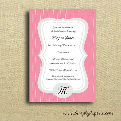 Polkadot,Frame,Invitation,Paper Goods, Cards, Invitation, pink, polka dots, bright, cheerful, party, custom, bride, wedding, shower, baby, personalized, monogram, The Artisan Group