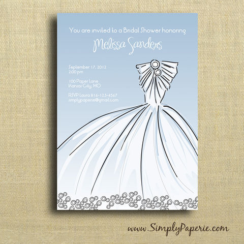 Elegant,Gown,Shower,Invitation, Wedding, Shower, Bridal, gown, dress, elegant, blue, white, celebration, party, bride