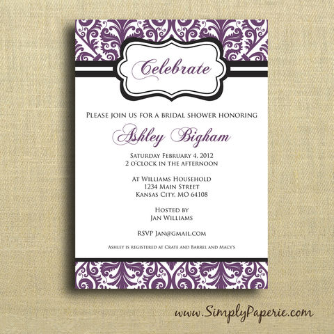 Damask,Shower,Invitation,Paper Goods, Cards, Invitation, purple, damask, elegant, classy, classic, black, shower, party, custom, bride, wedding, baby, personalized, The Artisan Group, plum, aubergine