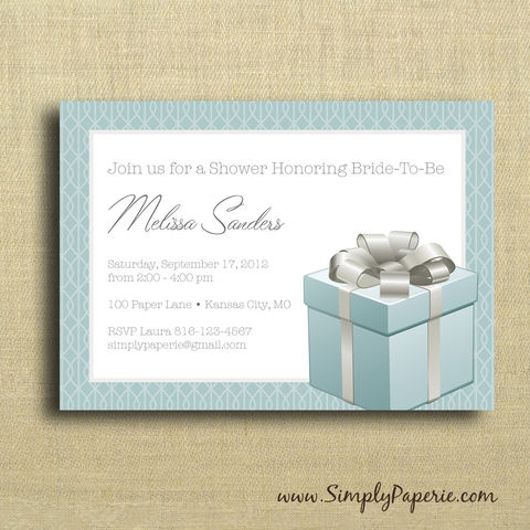 Gift,Box,Shower,Invitation, Wedding, Shower, Bridal, Tiffany's, teal box, gift, present, Tiffany blue, ring box, celebration, party, bride