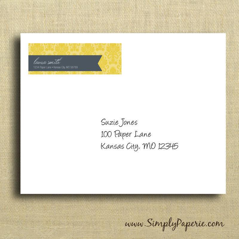 Gold Damask Return Address Labels