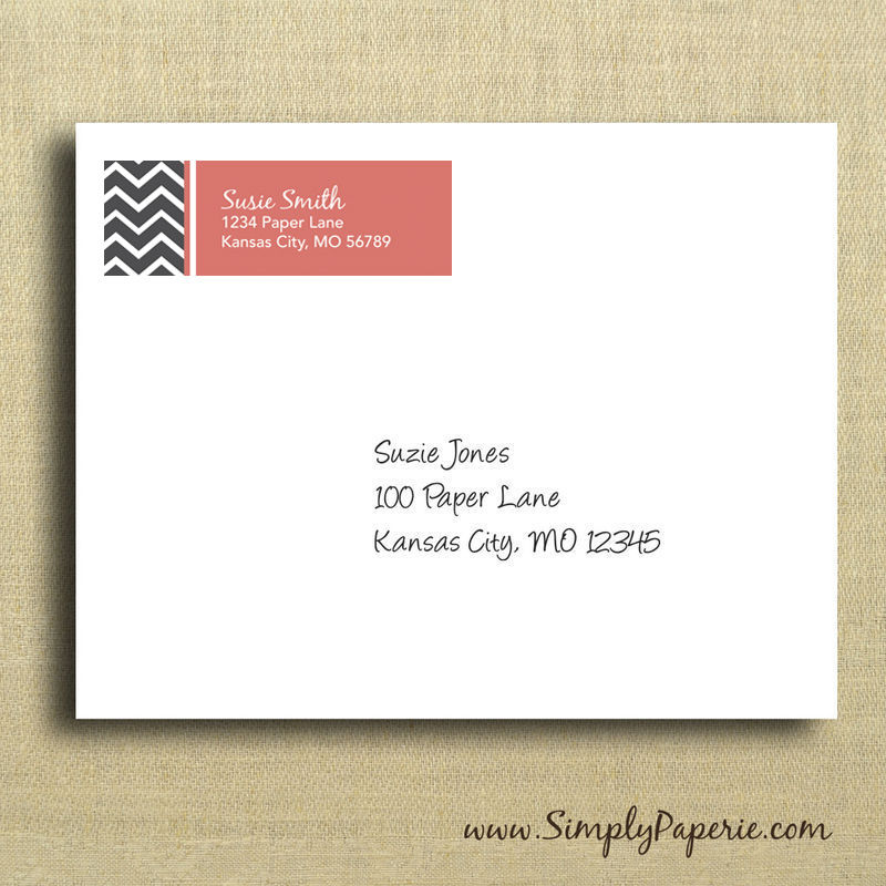 Grey Chevron Return Address Labels - Simply Paperie