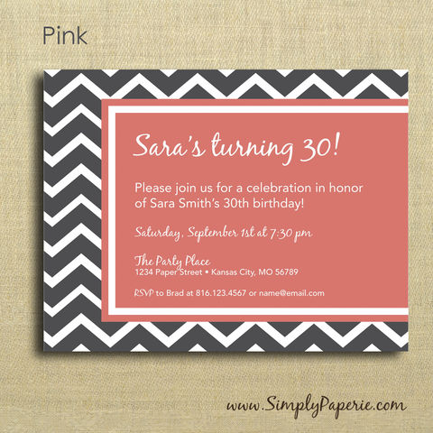 Grey,Chevron,Party,Invitations,party, invitation, paper goods, chevron, celebration, grey, pink, salmon, blue, teal, yellow, mustard, gold, aqua, red, plum, aubergene, green, lime, citron, wedding, modern, geometric