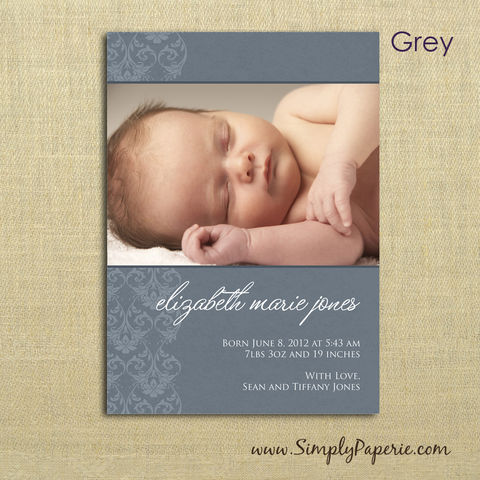 Damask,Birth,Announcements,baby, birth announcement, photo card, photograph, baby picture, custom, personalized, announcement, 5 x 7, damask, newborn