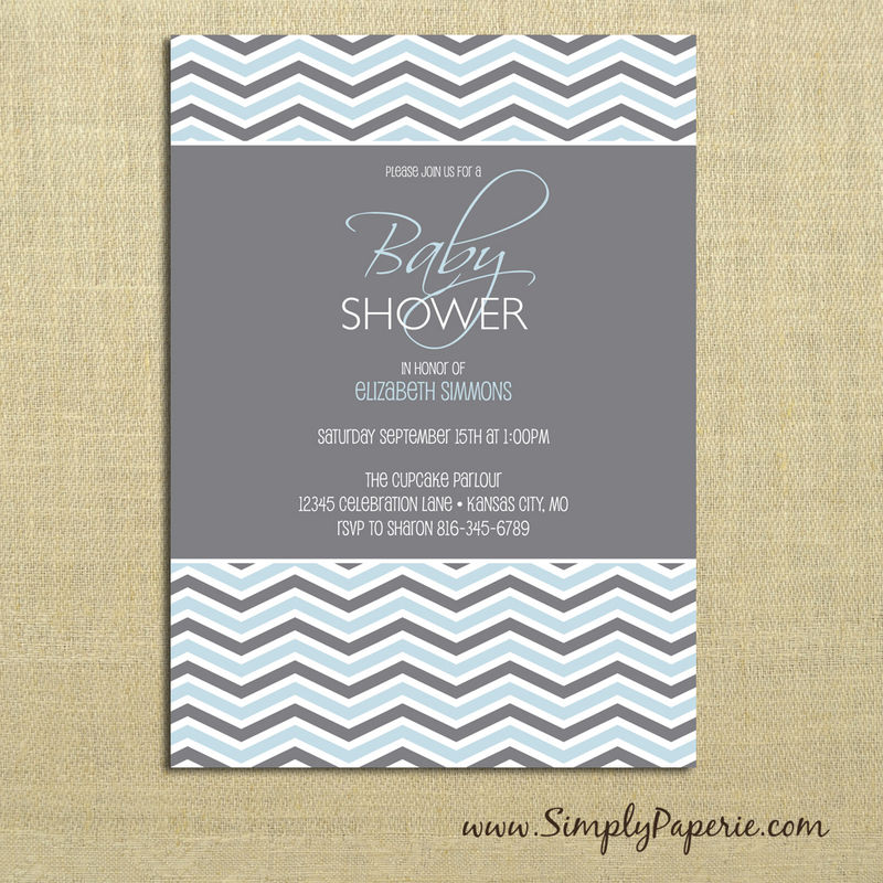Grey Chevron Baby Shower Invitations - Simply Paperie