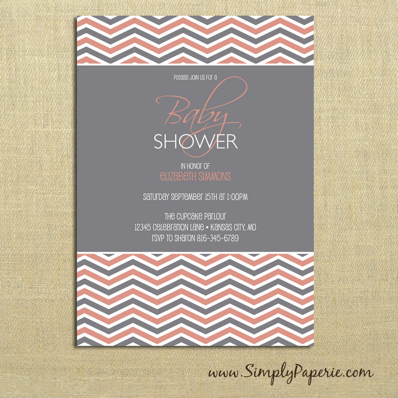 Grey Chevron Baby Shower Invitations - product images  of
