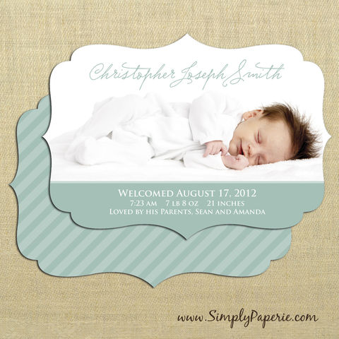 Elegant,Frame,Birth,Announcements,Baby, birth announcement, card, photograph, photo card, custom, personalized, announcement, 5 x 7, fancy frame, scallop edge