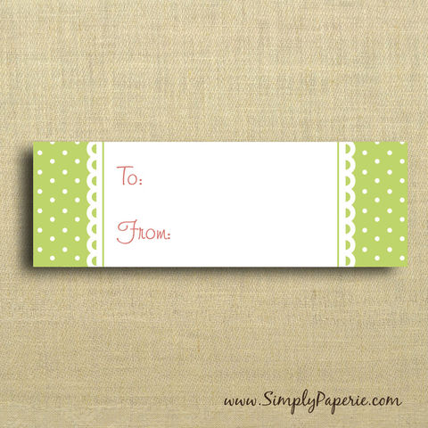 Green,Polka,Dot,Gift,Tags,Gift Tag, label, Sticker, to, from, pink, green, polka dot, femenine, girlie, bright, garden party