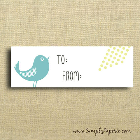 Aqua,Bird,and,Polka,Dots,Gift,Tags,Gift Tag, label, Sticker, to, from, yellow, aqua, citron, teal, bird, birdie, modern, bright, polka dot, graphic prints