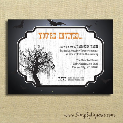 Halloween,Haunt,Party,Invitations, party, invitation, paper goods, spooky, black, orange, celebration, night, bats, tree, haunt, fright fest, goth, gothic, spiderweb, scarey, dark, festive, moon, moonlight
