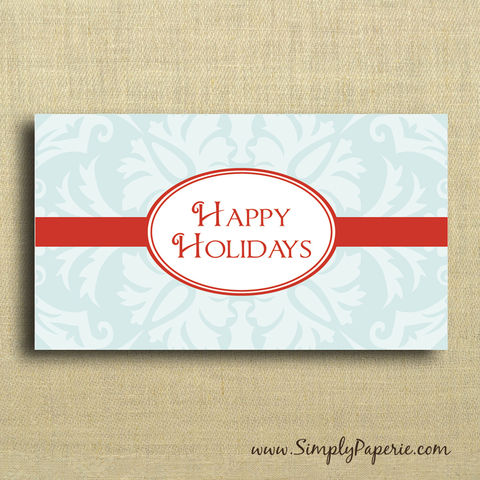 Mini,Card,-,Happy,Holidays,(Red,and,Blue), Christmas, Card, cheerful, notecard, red, happy_holidays, gift_card, blank, holiday_card_set, christmas, The_Artisan_Group, mini_card, small, teal, blue, note_card